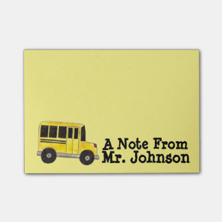 Personalized Yellow School Bus Driver Gift Post It Post-it Notes