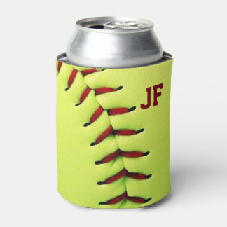Personalized yellow softball ball can cooler