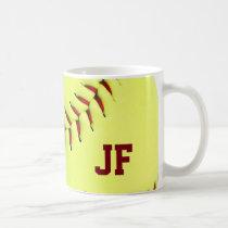 softball, customizable, sports, cool, baseball, funny, personalize, yellow, ball, mug, monogram, fastpitch, photography, american, sport, fun, team, coach, red, stitches, sports mug, Caneca com design gráfico personalizado