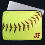 "Personalized yellow softball ball computer sleeve<br><div class=""desc"">Personalized yellow softball ball. Original and fun gift idea for team,  players or fans... </div>"