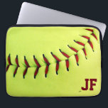 """Personalized yellow softball ball computer sleeve<br><div class=""""desc"""">Personalized yellow softball ball. Original and fun gift idea for team,  players or fans... </div>"""