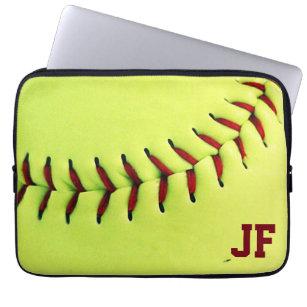 Personalized Yellow Softball Ball Computer Sleeve