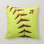 Personalized yellow softball ball throw pillow