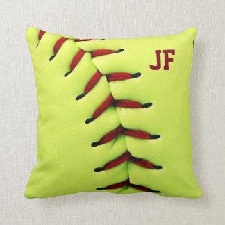 Personalized yellow softball ball throw pillow