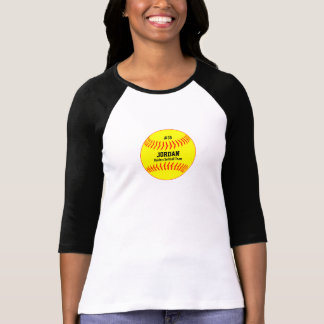 Personalized Yellow Softball Name Number Team T-Shirt