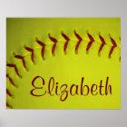Personalized Yellow Softball Poster