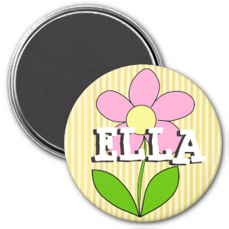 Personalized Yellow Striped Flower Name Magnet