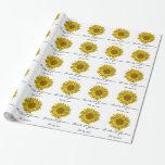 Personalized Yellow Sunflower Wedding Gift Wrap