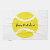 Personalized yellow tennis ball kitchen towel