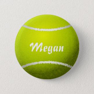 Personalized Yellow Tennis Ball Pinback Button