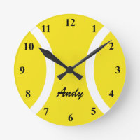 Personalized yellow tennis ball wall clock