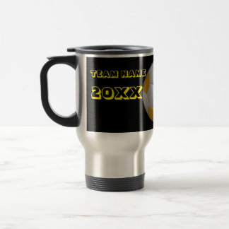 Personalized Yellow Text Soccer Tumbler Travel Mug