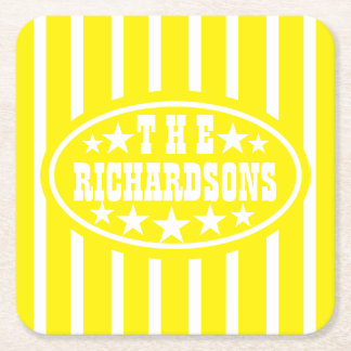 Personalized Yellow Vintage Carnival Square Paper Coaster