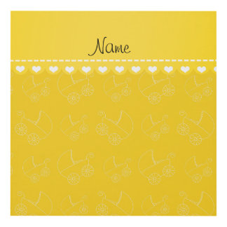 Personalized yellow white baby carriages panel wall art
