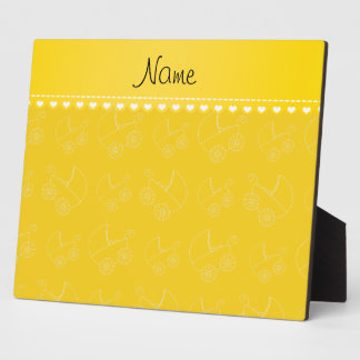 Personalized yellow white baby carriages display plaques