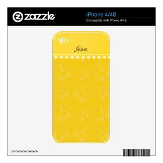 Personalized yellow white baby carriages iPhone 4 decals