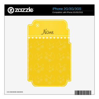 Personalized yellow white baby carriages skin for the iPhone 3GS