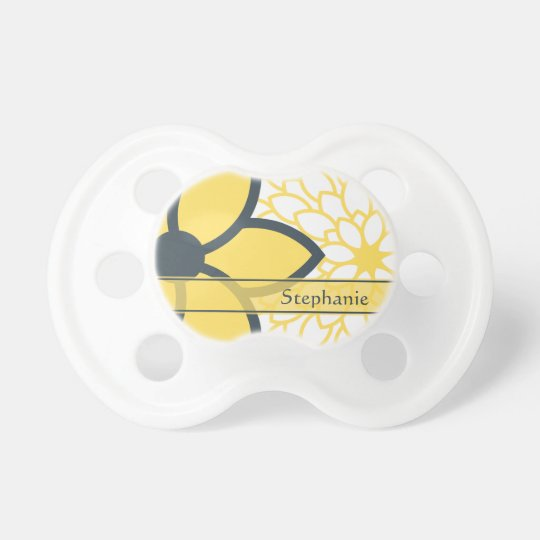 Personalized Yellow, White, Charcoal Modern Floral Pacifier
