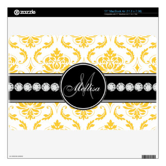 Personalized Yellow White Damask Pattern MacBook Decals