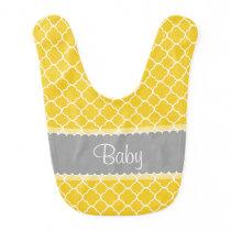 Personalized Yellow White Gray Quatrefoil Pattern Bib