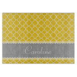 Personalized Yellow White Gray Quatrefoil Pattern Cutting Board