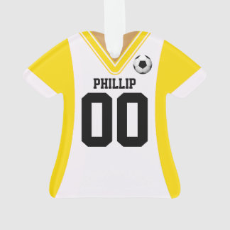 Personalized Yellow/White Soccer Jersey Ornament