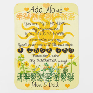 Personalized You are My Sunshine Swaddle Blankets