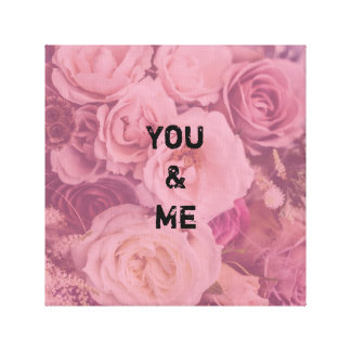 """Personalized """"You & Me"""" Romantic Roses Canvas Print"""