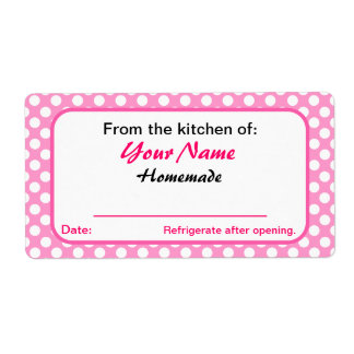 Personalized Your Kitchen Labels Pink Polka Dots