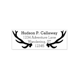Personalized Your Name and Address Antlers Self-inking Stamp