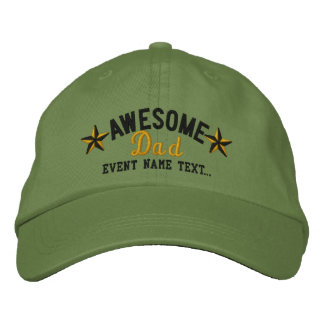 Personalized Your Name Awesome Dad Embroidery Cap