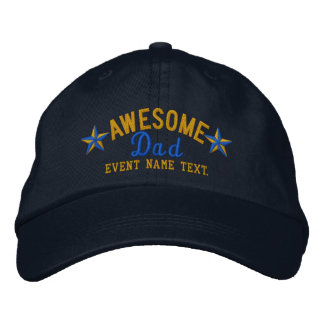 Personalized Your Name Awesome Dad Embroidery Embroidered Hats