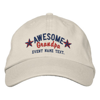 Personalized Your Name Awesome Grandpa Embroidery Embroidered Hats