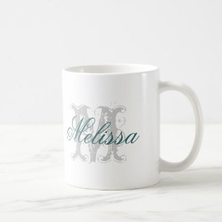 Personalized Your Name Initial Monogram Turquoise Coffee Mug