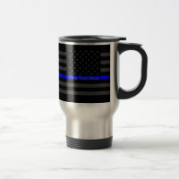 Personalized Your Name Thin Blue Line Grey US Flag Travel Mug