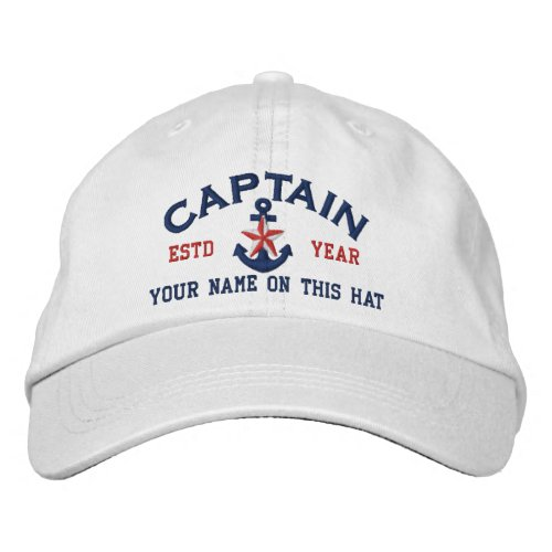 Personalized Your Name Year Captain Star Anchor Embroidered Baseball Hat
