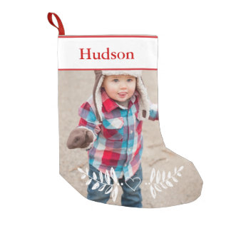 Personalized Your Photo Christmas Red White Small Christmas Stocking