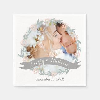 Personalized Your Photo Quartz Pink Forest Wedding Napkin