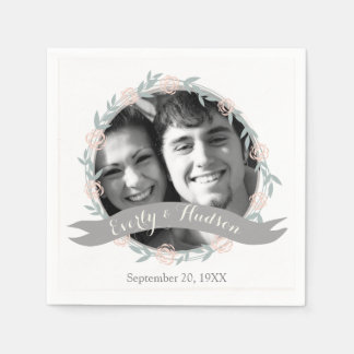 Personalized Your Photo Quartz Pink Forest Wedding Paper Napkin