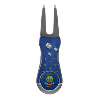 Personalized Your Text Idaho State Flag on a Divot Tool