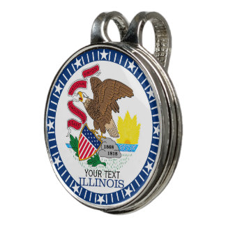 Personalized Your Text Illinois State Flag on a Golf Hat Clip