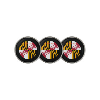 Personalized Your Text Maryland State Flag on a Golf Ball Marker