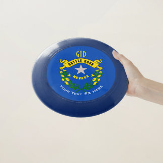 Personalized Your Text Nevada State Flag on a Wham-O Frisbee