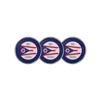 Personalized Your Text Ohio State Flag on a Golf Ball Marker