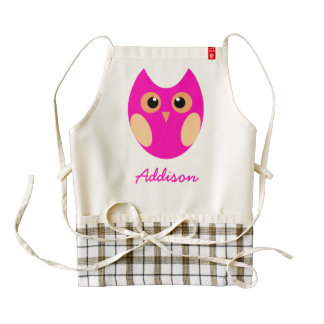 Personalized Zazzle Heart Aprons Cute Pink Owl
