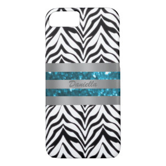 Personalized Zebra And Blue Glitz Trim Case