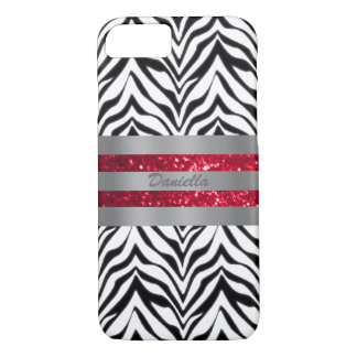 Personalized Zebra And Red Trim Case