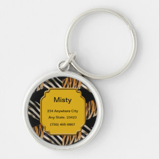 Personalized Zebra And Tiger Pet ID Tag Keychain