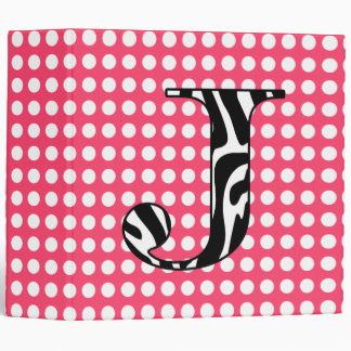 "Personalized Zebra ""Initial"" Hot  Pink Polka Dots Binder"