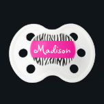 """Personalized Zebra Pink Pacifier<br><div class=""""desc"""">A cute zebra pattern with hot pink is featured on this custom pacifier. Easily personalize by adding a name!</div>"""